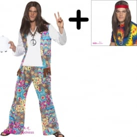 Groovy Hippie - Adult Mens Costume Set (Costume, Wig, Specs, Medallion)