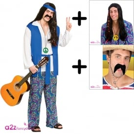 Groovy Hippie Costume Set - Adult Costume + Wig + Tash