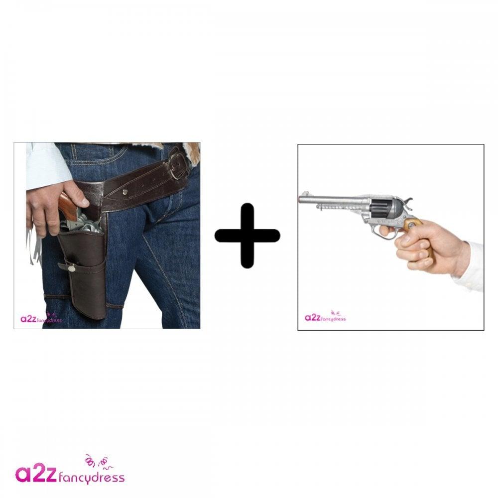 Mens Western Black Gun Holster Cop Cowboy Fancy Dress Weapon Accessory Belt