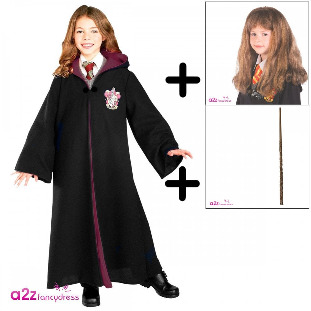 Childrens Boys Girls Wizard Cape Wand Glasses 3Pc Set Cosplay Book Day Fancy