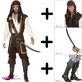 High Seas Pirate - Adult Costume Set 1 (Costume, Wig, Sword, Bootcovers) SWORD CANT GO AIR MAIL