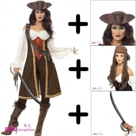 High Seas Pirate Wench - Adult Costume Set 1 (Costume, Wig, Hat, Sword)