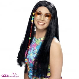 Hippy Party Wig (Black) - Adult Accessory