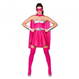 Hot Super Hero Hot Pink/Silver - Adult Costume