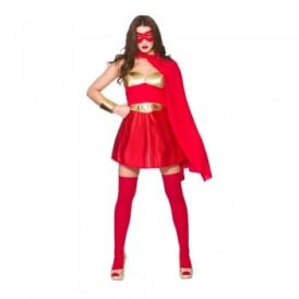 Hot Super Hero Red/Gold - Adult Costume
