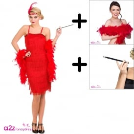 Jazzy Flapper (Red) - Adult Costume Set (Costume, Boa, Cig Holder)