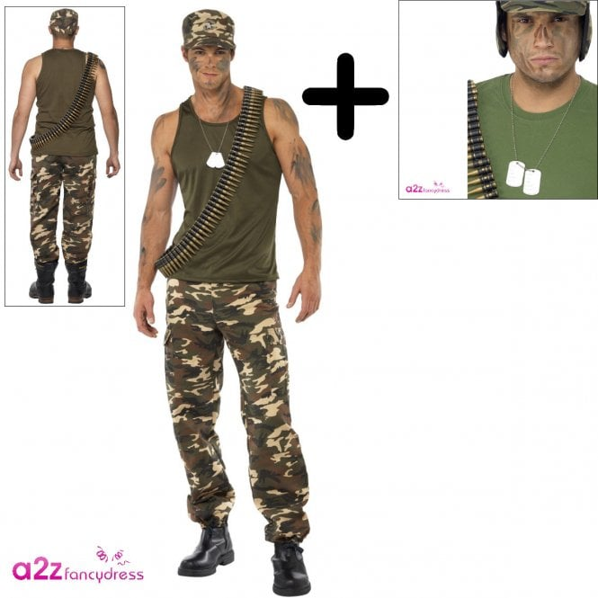 Khaki Camo Deluxe - Adult Costume Set (Costume, Name Tags)