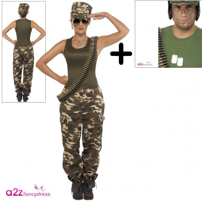 Khaki Camo Deluxe - Adult Womens Costume Set (Costume, Name Tags)