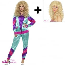 Ladies 80's Height Of Fashion Shell Suit (Turquoise) - Adult Costume Set (Costume, Wig)