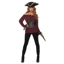 Ladies Deluxe Burgundy Pirate Shirt - Adult Costume
