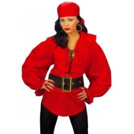 Ladies Renaissance Pirate Red Shirt - Adult Accessory