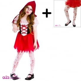Lil Zombie Riding Hood - Kids Costume Set (Costume, Tights)