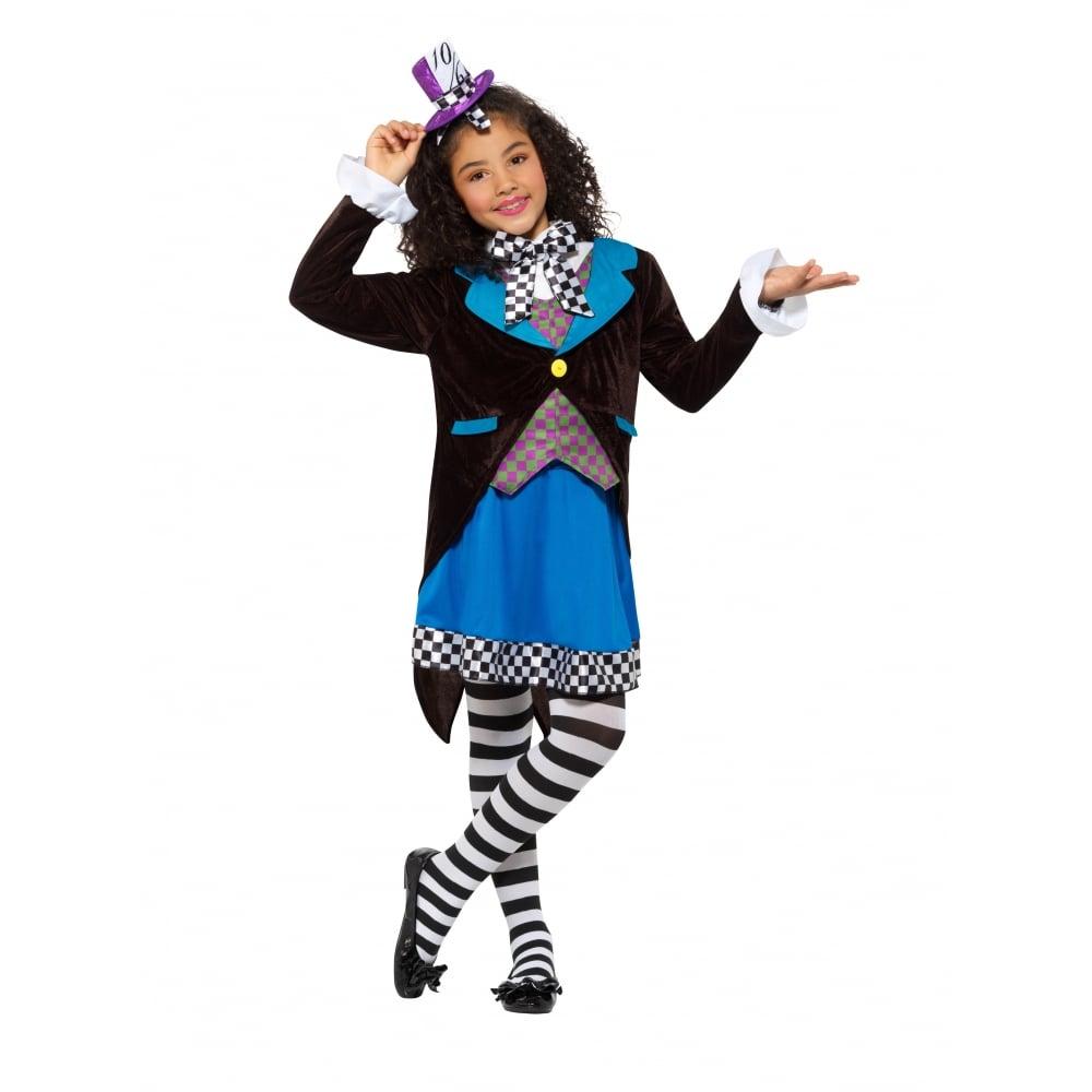 Little Miss Hatter - Kids Costume Set (Costume Black u0026&; ...  sc 1 st  a2z Fancy Dress & Little Miss Hatter - Kids Costume Set (Costume Black u0026 White Tights ...