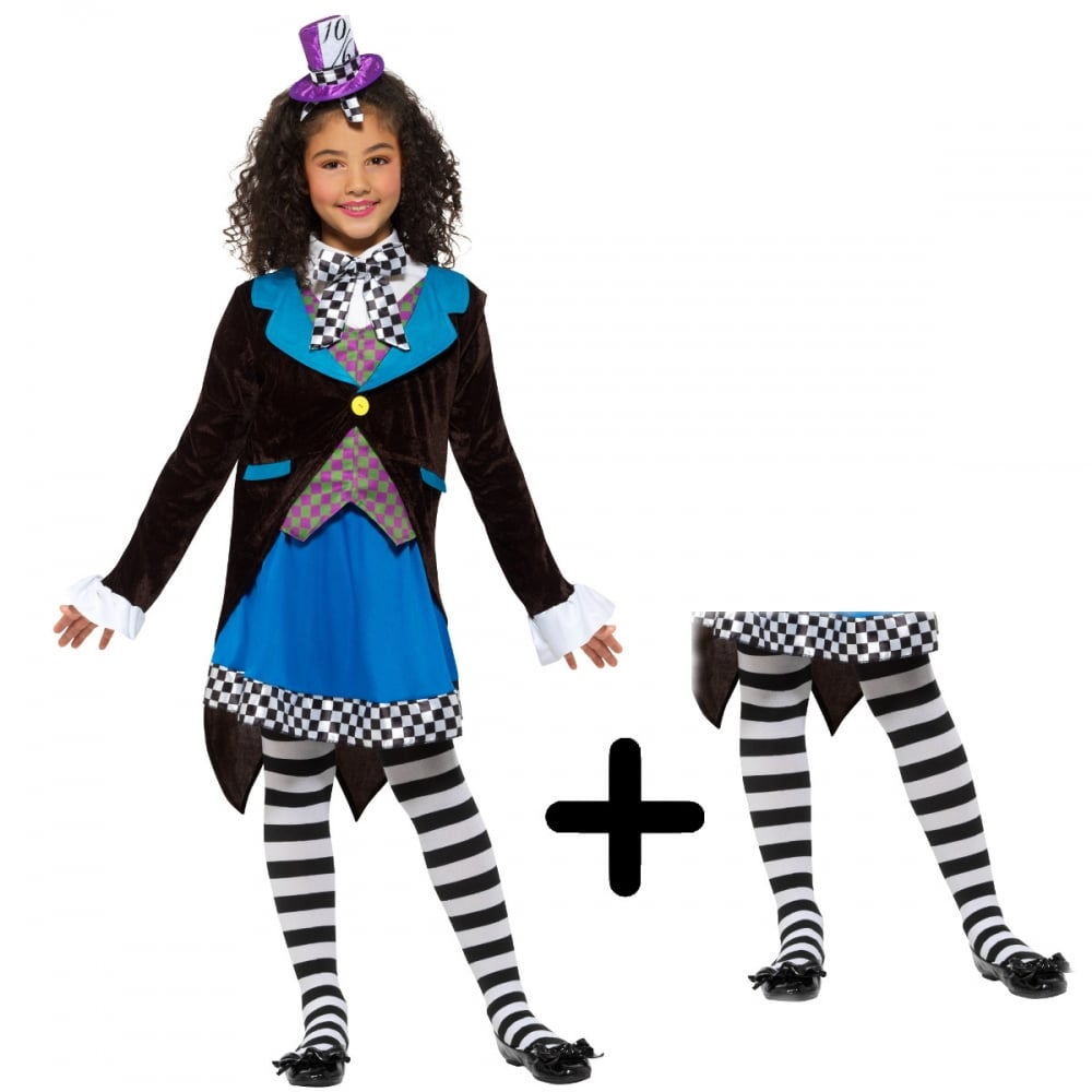 little miss hatter - kids costume set (costume, black & white tights