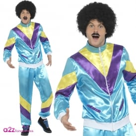 Mens 80's Height Of Fashion Shell Suit (Blue) - Adult Costume
