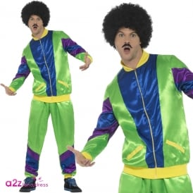 Mens 80's Height Of Fashion Shell Suit (Green) - Adult Costume