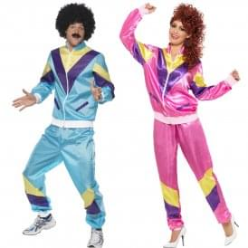 Mens + Womens 80's Height Of Fashion Shell Suit (Blue & Pink) - Couples Costume