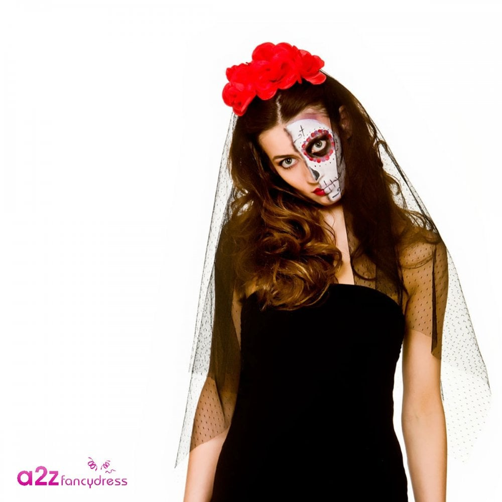 Day Of The Dead Senorita Mask Veil Halloween Fancy Dress Accessory New Mexican