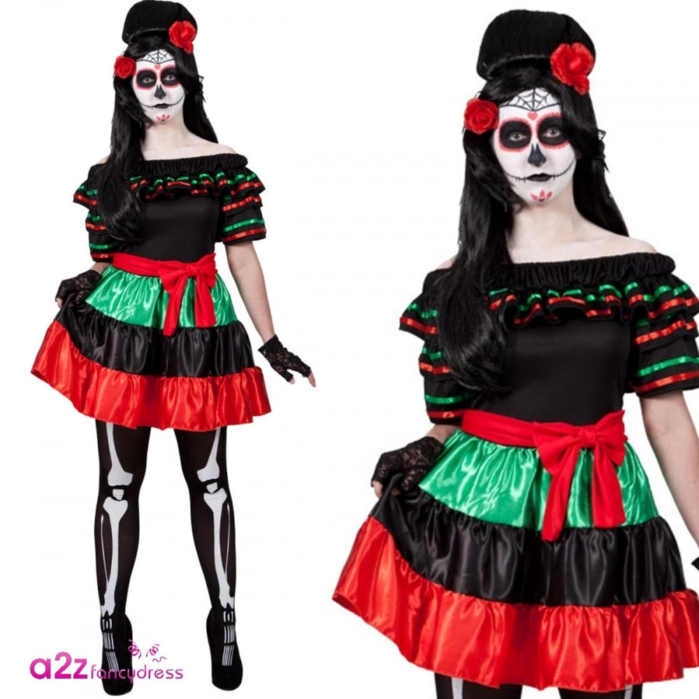Adult Ladies Halloween Day Of The Dead Darling Fancy Dress Costume Tights New
