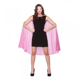 New Baby Pink Super Hero Cape & Mask - Adult Accessory