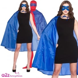 New Blue Satin Super Hero Cape & Mask - Adult Accessory