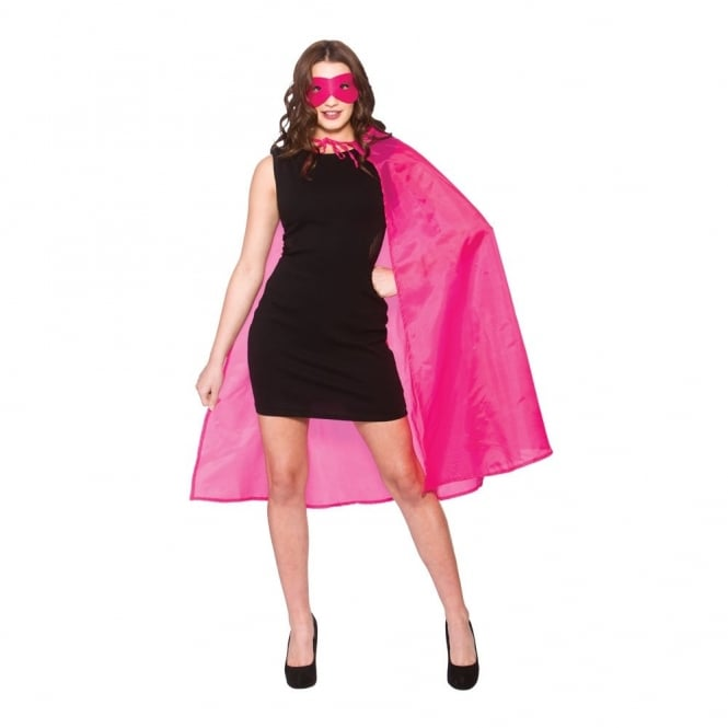 New Hot Pink Superhero Cape & Mask - Adult Accessory