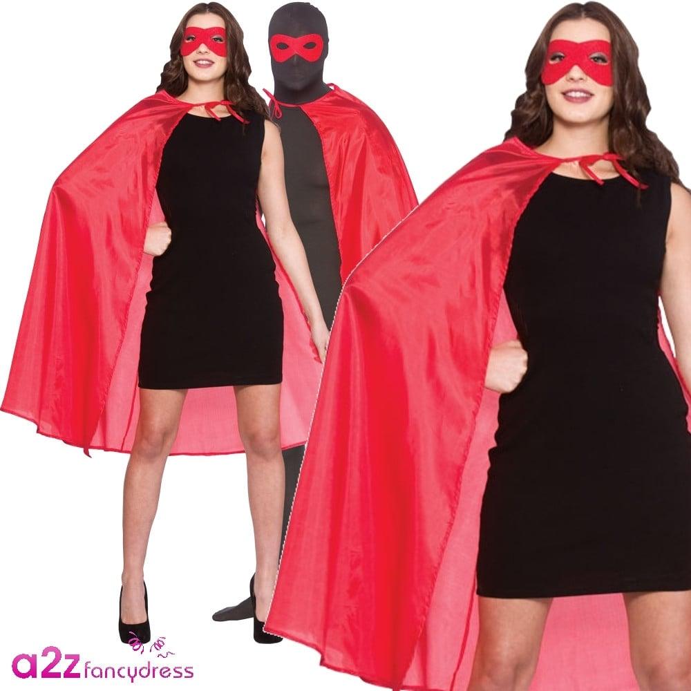 LADIES ADULT GREEN SUPER HERO CAPE COSTUME FANCY DRESS HEN PARTY DO ACCESSORIES