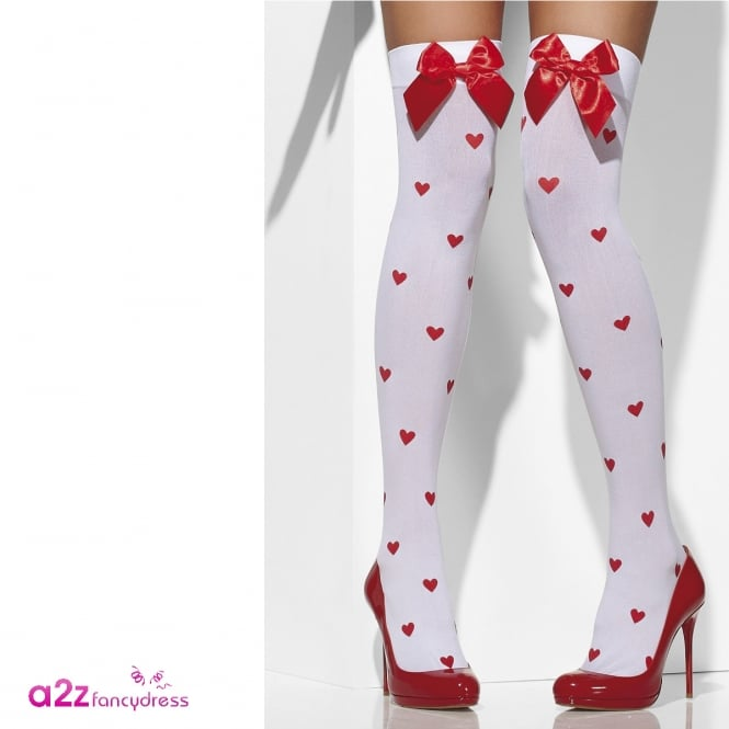 Opaque Hold-Ups (White With Red Bows and Heart Print) - Adult Accessory