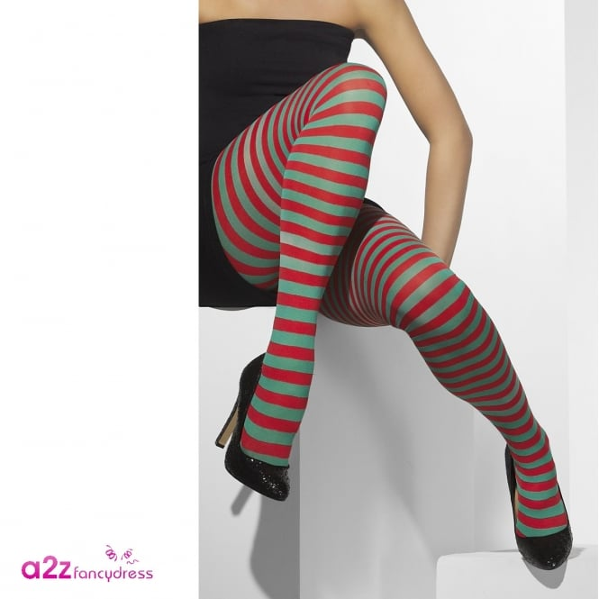 Opaque Tights (Red & Green) - Adult Accessory