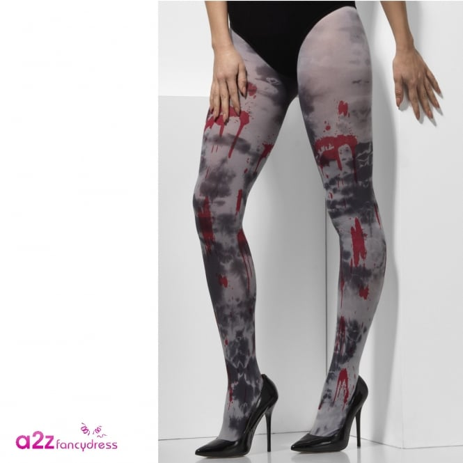 Opaque White Tights With Zombie Dirt & Blood Spatter - Adult Accessory