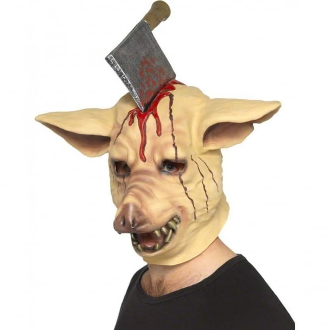 Pig Head Mask (With Impaled Knife) - Adult Accessory