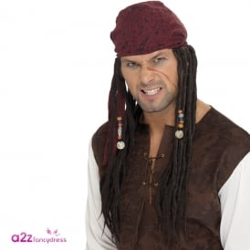Pirate Wig & Scarf - Adult Accessory