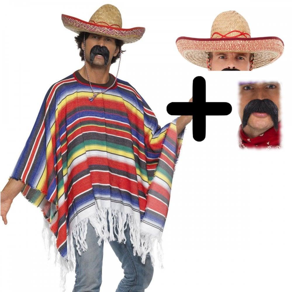 9e48aacf777 Poncho - Adult 3 Piece Costume Set (Poncho, Sombrero, Tash)