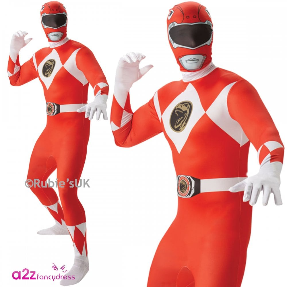 Green Power Ranger Mens Fancy Dress 2nd Skin Suit Mighty Morphin Adults Costume