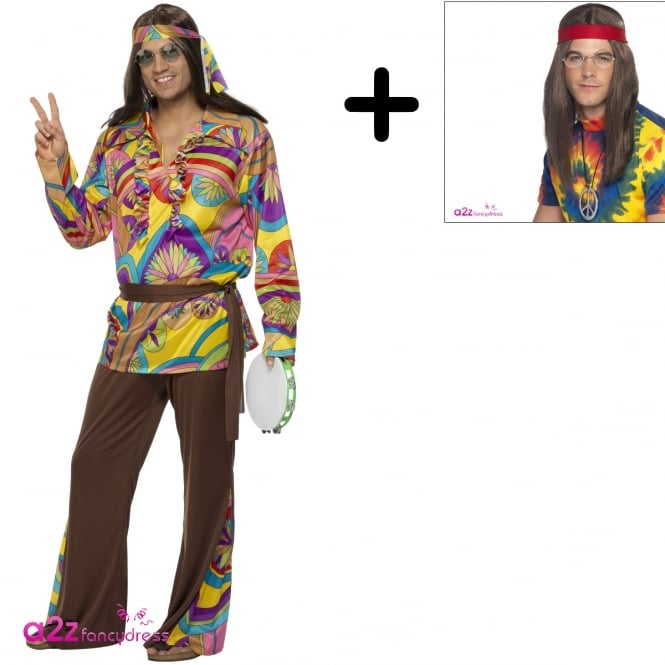 Psychedelic Hippie Man - Adult Costume Set (Costume, Wig, Specs & Medallion)