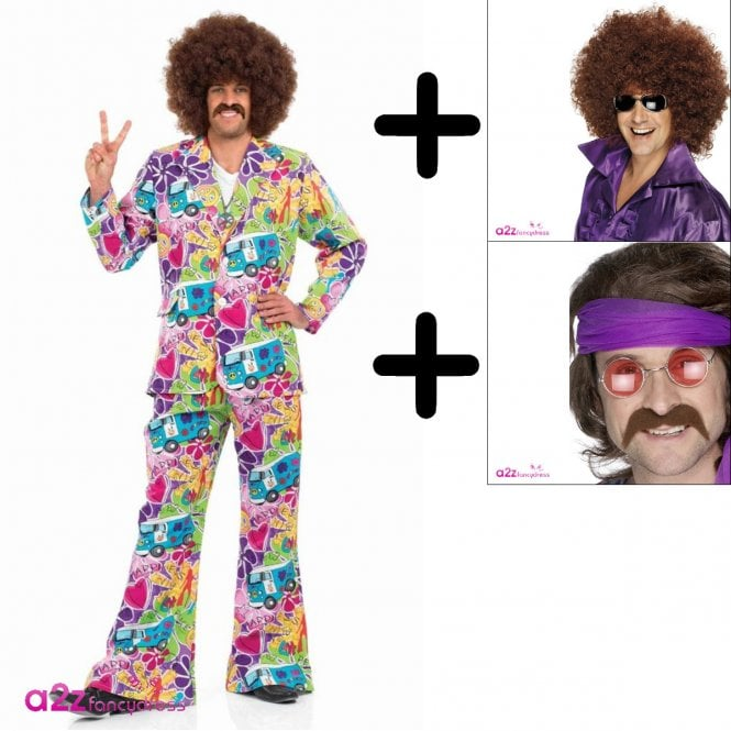 Psychedelic Suit - Adult Costume Set (Costume, Wig & Tash)