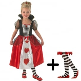 Queen Of Hearts - Kids Costume Set (Costume, Black & White Tights)