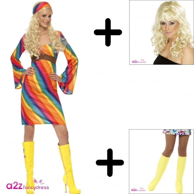 Rainbow Hippie - Adult Costume Set (Costume. Wig & Bootcovers)