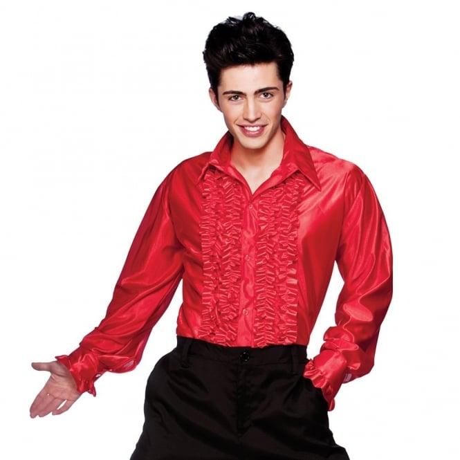 Red Disco Ruffle Shirt - Adult Costume