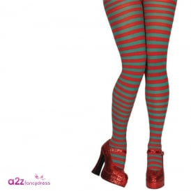 Red & Green Candystripe Tights - Accessory