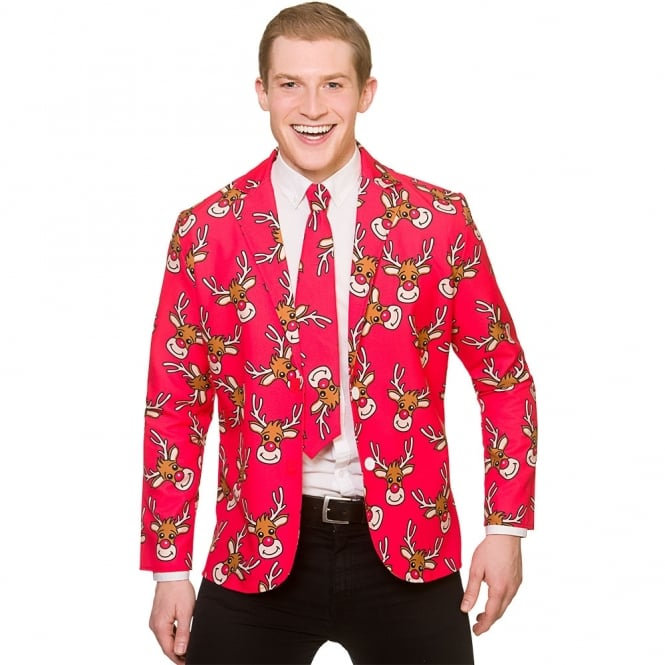 Red Reindeer Christmas Jacket & Tie - Adult Costume