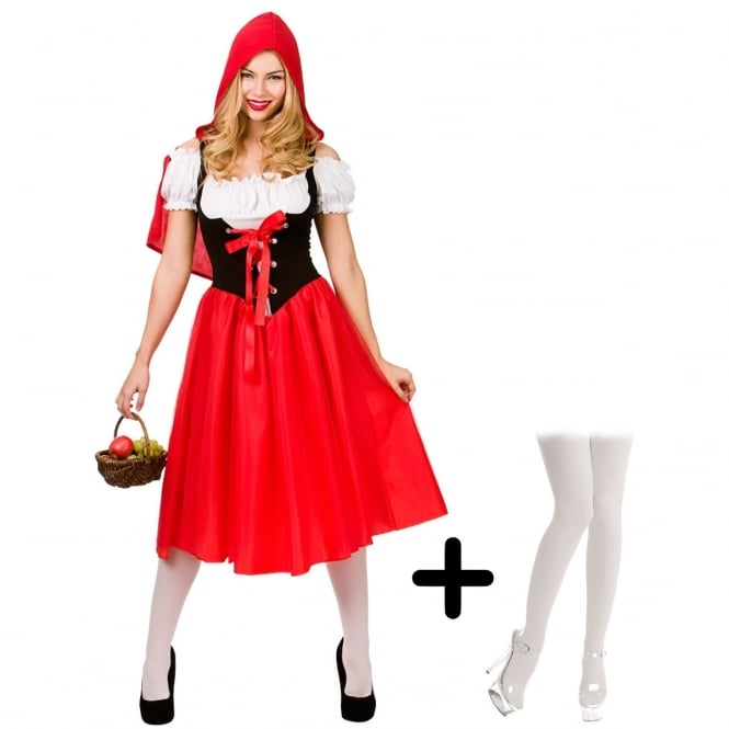 Red Riding Hood - Adult Costume Set (Costume,White Tights or Hold-Ups)