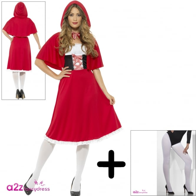 Red Riding Hood - Adult Costume Set (Longer Costume, White Tights)
