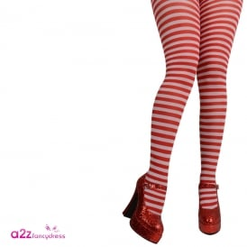 Red & White Candystripe Tights - Adult Accessory