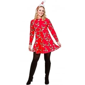 Reindeer Christmas Dress (Red) - Adult Costume