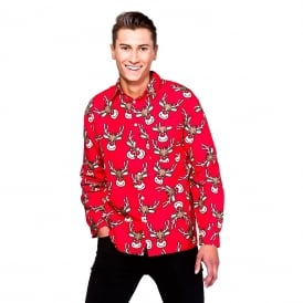 Reindeer Christmas Shirt (Red) - Adult Accessory
