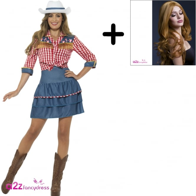 Rodeo Doll - Adult Costume Set (Costume, Auburn Wig)