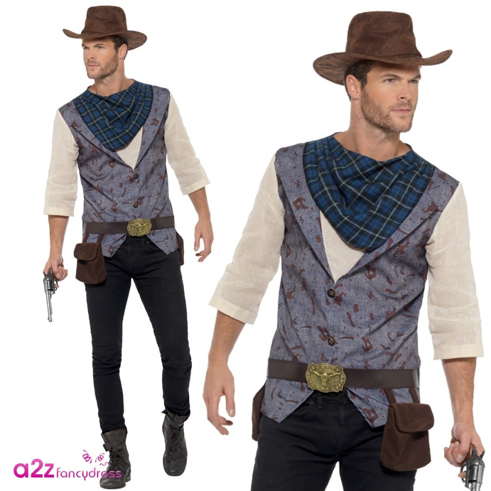 Cowboy Western Fancy Dress Stag Party Sheriff Rodeo Mens XL New Year