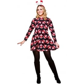 Santa Christmas Dress (Black) - Adult Costume