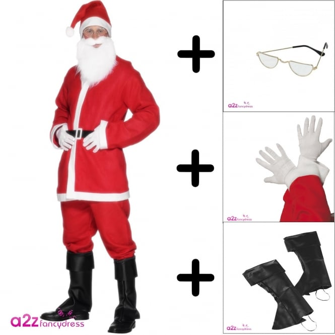 Santa Suit - Adult Costume Set (Costume, Gloves, Specs, Bootcovers)